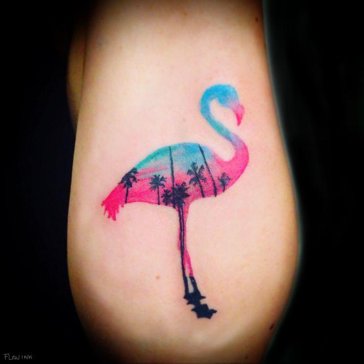 flamingo tattoo, pink flamingo, no outline tattoo, flamingo, tattoo for girls