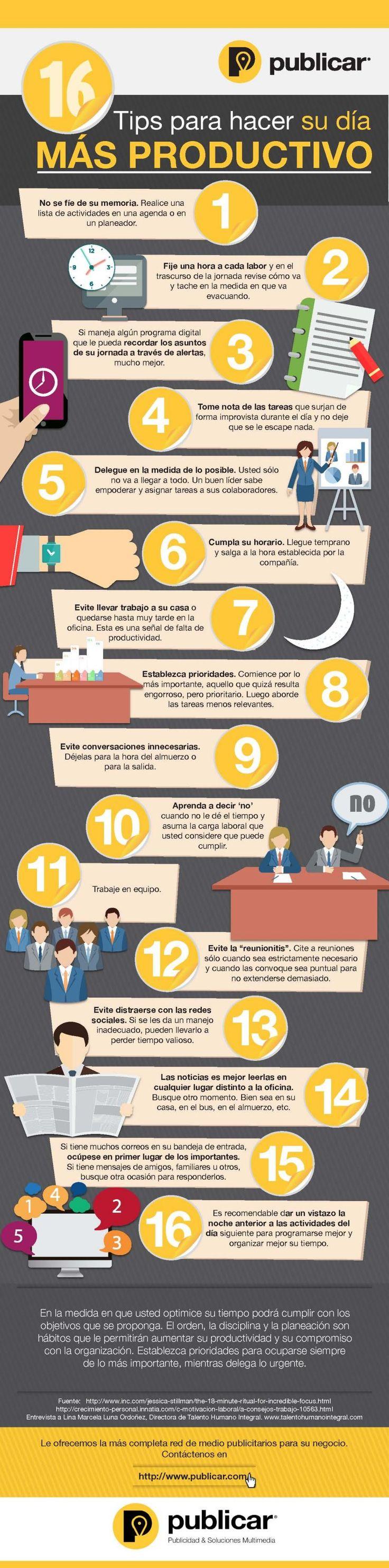 Una infografía en español que nos ofrece hasta 16 útiles consejos para lograr ser más productivos y eficientes en nuestro trabajo.