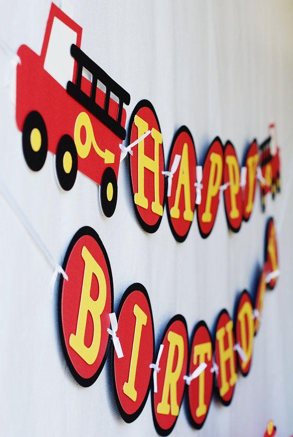 Sound the Alarm Firetruck Birthday Banner by PinwheelLane on Etsy, $28.00