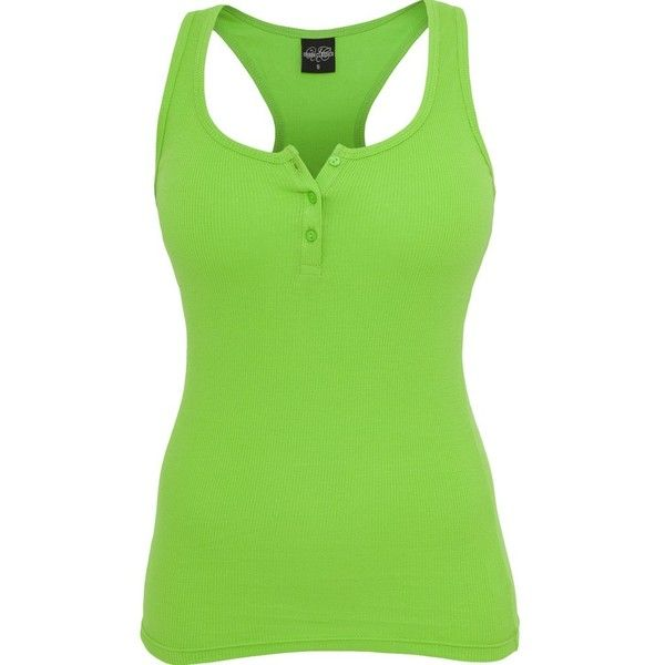 Urban Classics Ladies BUTTON Tank Top lime green ($15) ❤ liked on Polyvore featuring tops, shirts, tank tops, 10. tops., tanks, slim shirt, button shirts, lime green tank top, cotton tank e cotton shirts