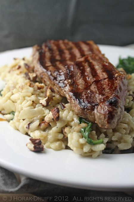 Steak on a blue cheese, spinach & pecan risotto...wow...make the steak medium well !