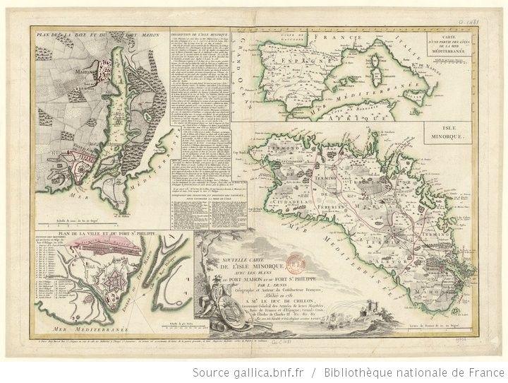 Nouvelle Carte de l'ile Minorque, avec les plans du Port-Mahon et du fort St-Philippe / par L. Denis - 1