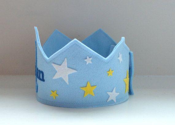 Feltro di lana stelle corona corona di compleanno ragazzo