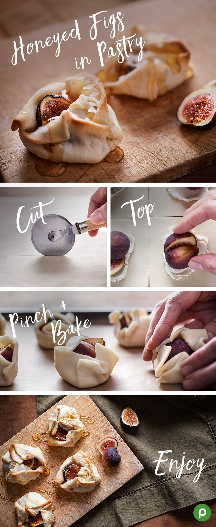 Make sure to bake plenty of these Honeyed Figs in Pastry for your Thanksgiving dessert, because the whole family is going to want more. Thankfully, they're easy to make with this Publix recipe. Cut a ready-to-bake piecrust in eight 3-inch squares. Place cream cheese in the middle of each square, top with a fig, and drizzle with honey. Pinch the dough together around the figs, and bake until they're golden brown. | Follow @gwylio0148 or visit http://gwyl.io/ for more diy/kids/pets videos