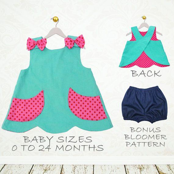 Muchachas del bebé coser patrón pdf, pdf de patrones de costura de bebé, patrón…                                                                                                                                                     Más