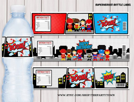 Superheroes Pop Art water bottle label / Superhero printable PDF / Instant download