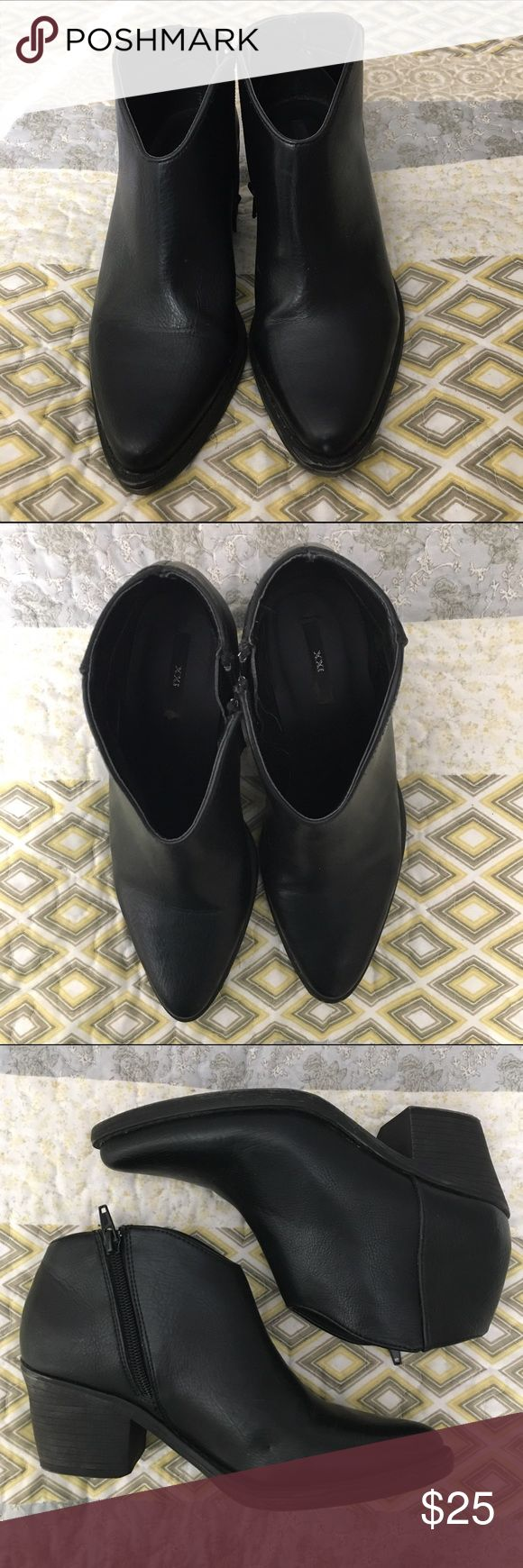 Black Ankle Boots Super fly, excellent condition. A narrower style, so maybe not good for wide feet. XXI Shoes Ankle Boots & Booties