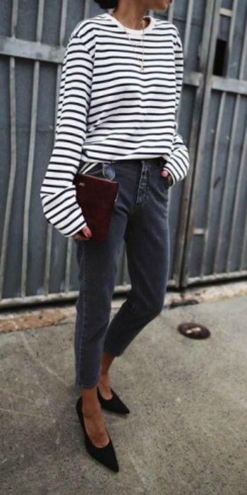 Andy + extra-long sleeved black + white horizontal striped tee + retro style black denim jeans + simplistic black heels  Tee: Uniqlo, Jeans: Shopbop, Shoes: Acne Studios.