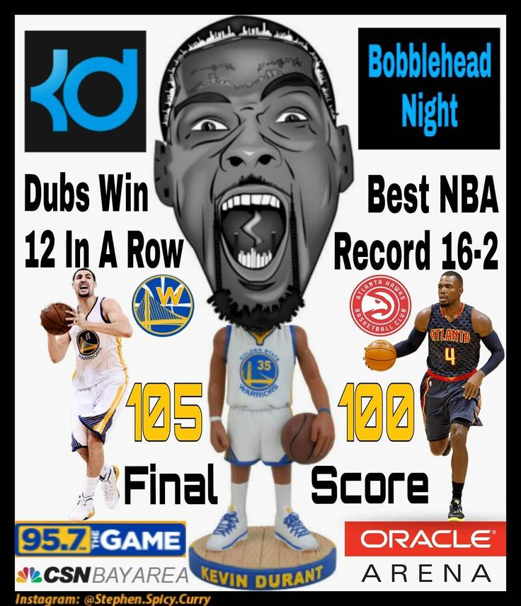 A dozen wins it is! Dubs beat the Atlanta Hawks 105-100 to win their 12th in a row as they move to 16-2 the best record in the NBA! Steph and KD tie for 25 Klay got 20 and Andre scored 12 points. Durantula was big on the boards tonight with 14 rebounds ... great way to cap off KD's own bobblehead night! Dubs are on a roll! Next game is at Oracle Arena against the Houston Rockets Thursday Dec 1 at 7:30PM Pacific Time. Watch/listen on CSN Bay Area/95.7 The Game. @stephencurry30 @warriors…
