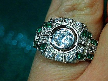 Jewellery-Ring-Designer-Kaiserman-Natural Emerald and Large Cubic Zirconia Silver Ring