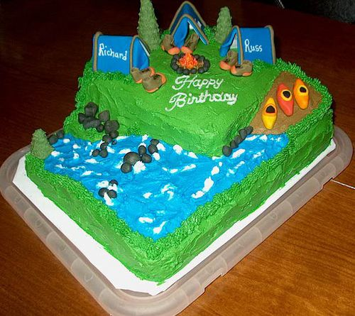 Making a camping cake for my brother's birthday based on this photo.