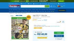 [Casas Bahia] Jogo FIFA 17 - Xbox One - de R$ 287,24 por R$ 119,00 (40% de desconto)