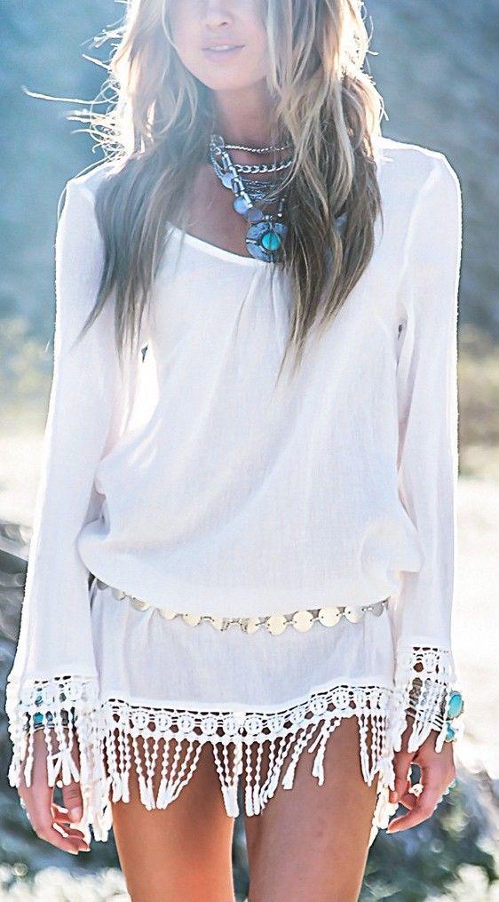 white + lace tassels