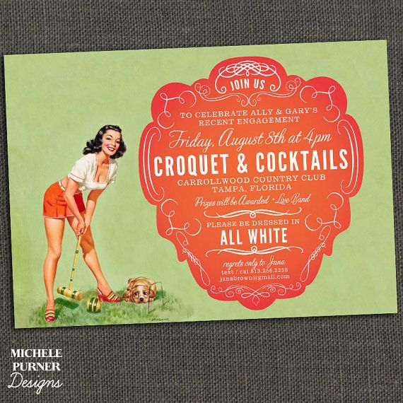 CROQUET Invite Pin Up Any Occasion by michelepurnerdesigns
