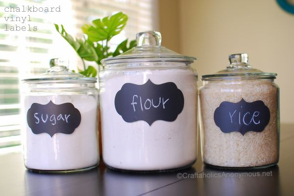 pretty canister labels!: Ideas Craftidea, Chalkboards Vinyls, Vinyls Crafts, Chalkboards Paintings, Crafts Projects, Ideas Crafts Ideas, Cool Ideas, Chalkboards Labels, Silhouette Cameo