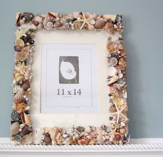 Beach Decor Seashell Frame Nautical Decor by beachgrasscottage