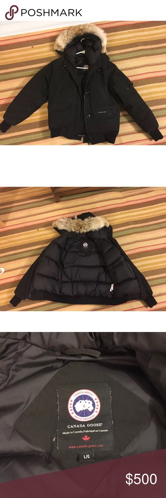 Authentic Canada Goose Chilliwack Bomber Black Original Style Chilliwack Bomber Jacket size LARGE. Pre owned, worn for a few seasons. Few signs of wear near wrists but overall great condition. Fur in perfect condition. Canada Goose Jackets & Coats Puffers