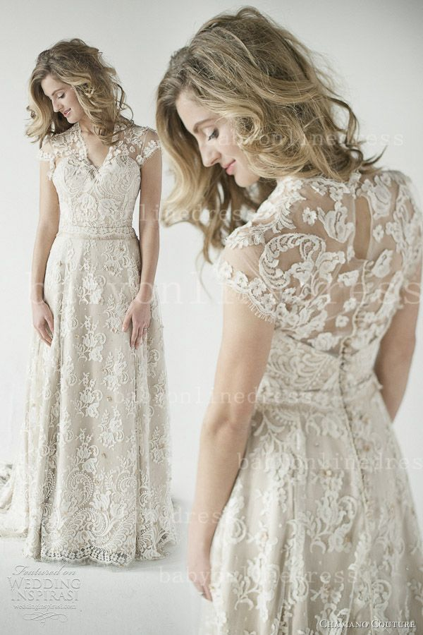 $179 27dress.com custom made White V-neck Floor-length Cap Sleeve Lace Wedding Dresses