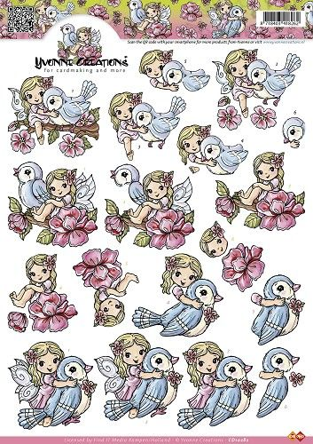 3D Knipvel - Yvonne Creations - Lente meisje en vogels