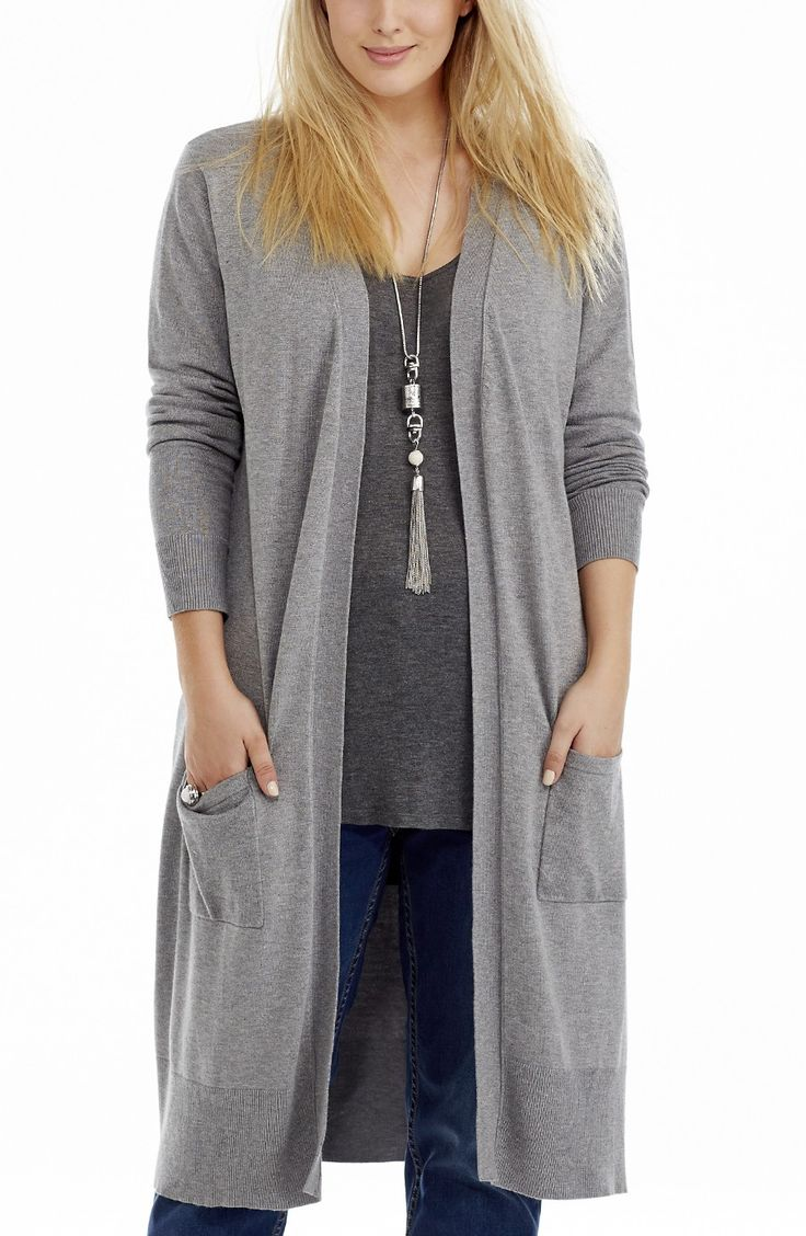 Two Pocket Longline Cardi | Grey marle | Style No: JK11136 Acrylic Knit Fabric Longline Cardigan Jacket. This hot totally on trend long Cardigan has an edge to edge front and 2 front pockets. #dreamdiva #dreamdivafiles #fashion #plussize