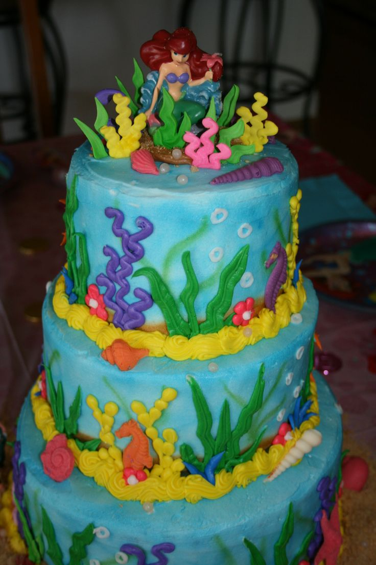Sea themed stacked cake.