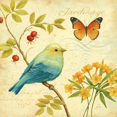 colorful bird  botanical painting