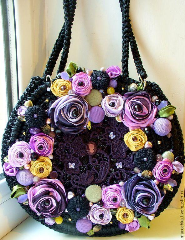 """Купить Сумочка """"Любимые оттенки"""" (вариация) - черный, цветочный, круглая сумка, сумка из атласных лент"""