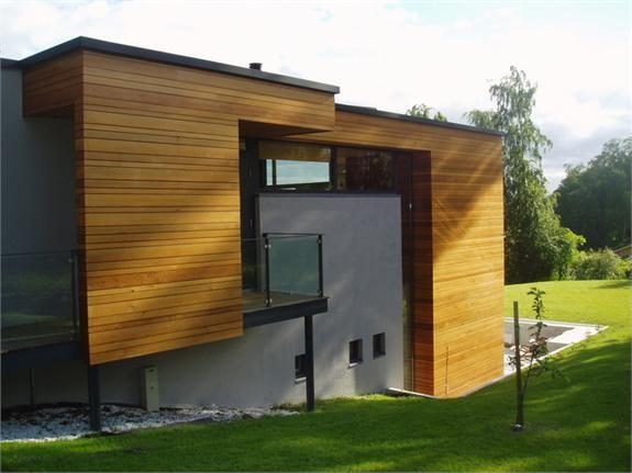 Mur & tre kombinasjon - murhus -  pusset fasade - Leca