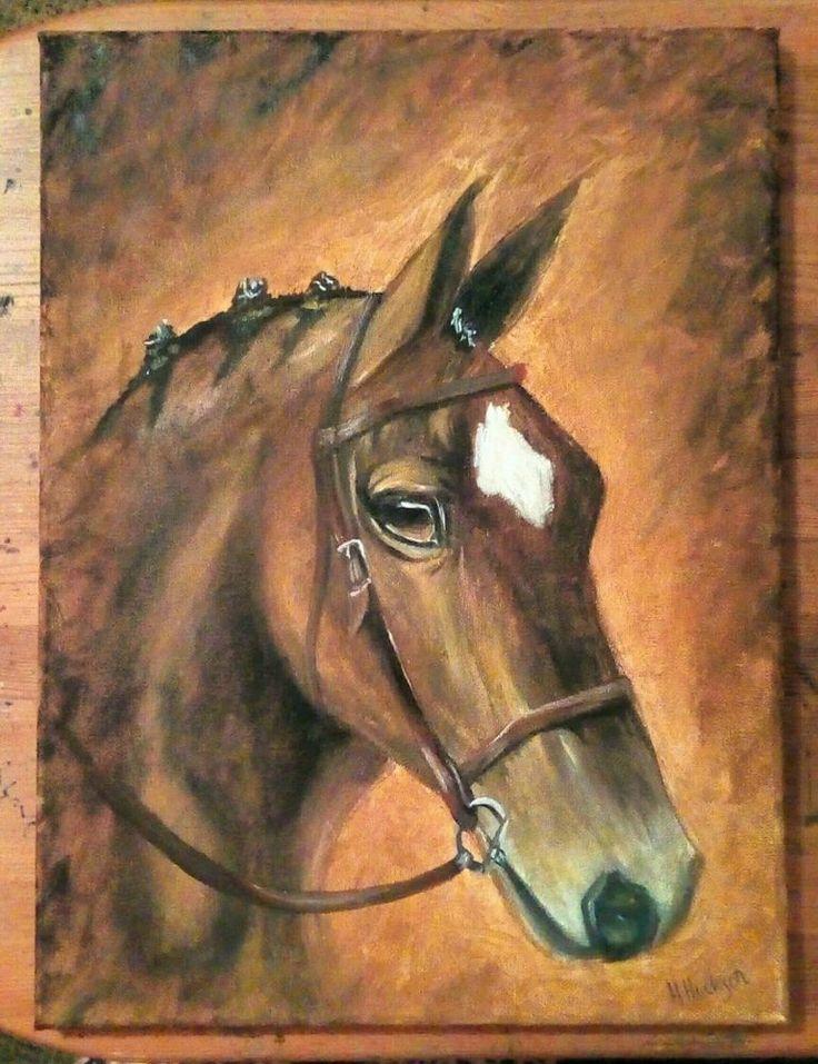 'Focus' Original Horse Portrait Oil Painting 16 x 12