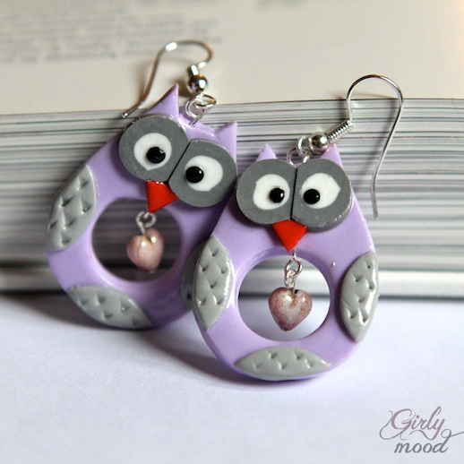 *SORRY, no information given as to product used ~ HooT HooT Lavender Owl Earrings