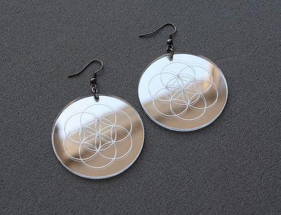 Mirror earrings mirror acrylic earrings seed of by elfinadesign