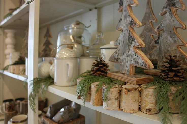 Pretty Shelves filled with Birch Bark, Candles and Christmas Greens