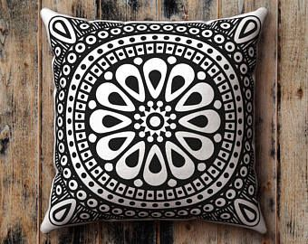 Black and White Pillow Case, Sixties Monochrome Flower, Floral, Graphic, Cushion Cover, Pillow Sham