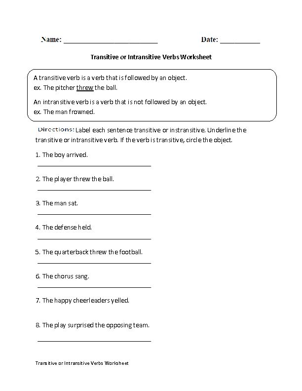 Transitive or Intransitive Action Verbs Worksheet