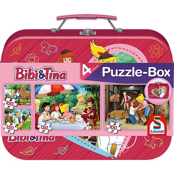 Puzzlekoffer Bibi& Tina, 2x 100, 2x 150 Teile von Schmidt Spiele.<br /> <br /> Bibi und Tina auf Amadeus und Sabrina reiten durch den Wind.<br /> 4 tolle Puzzle im praktischen Metallkoffer zum Mitnehmen und auch unterwegs Spaß haben.<br /> <br /> Details:<br /> -2x 100 Teile<br /> -2x 150 Teile<br /> -Maße der Verpackung: 28x 21x 6,3 cm