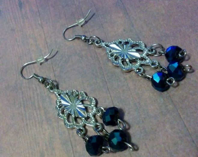 Silver earring with blue crystal beads - ear bling - ear wig - jewelry - vintage - antique - wedding - new year - gift - sparkle - dazzle by Blackrose37 on Etsy