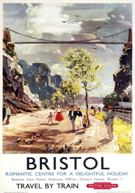 Bristol, Clifton Suspension Bridge. Vintage BR Travel poster by LA Wilcox. c1950