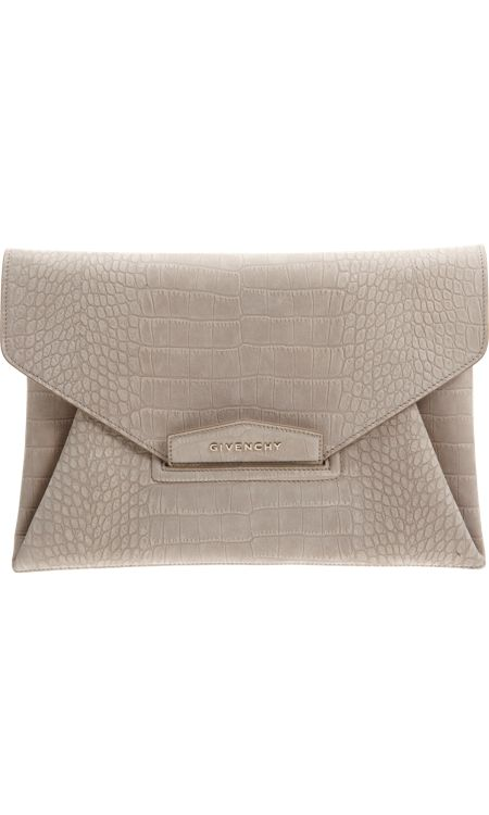 Givenchy croc-stamped antigona envelope clutch