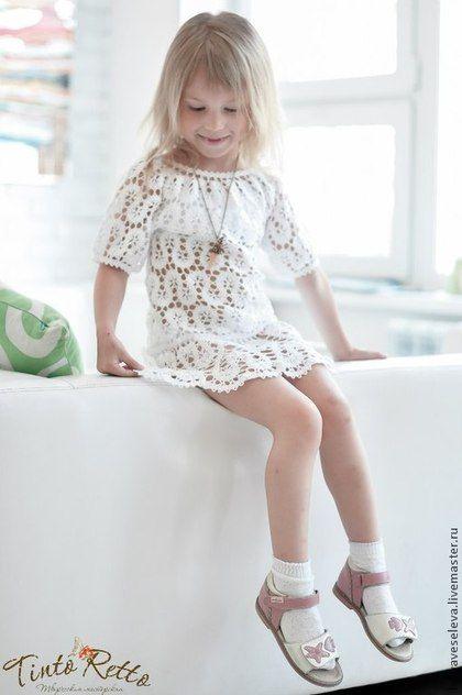 платье для девочки в технике брюгге - белый,однотонный,ажурный узор,изящный