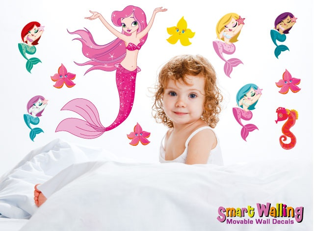 smartwalling, MOVABLE wall decals - Mermaid Wall Decals, $7.95 (http://www.wholesaleprinters.com.au/mermaid-wall-decals)