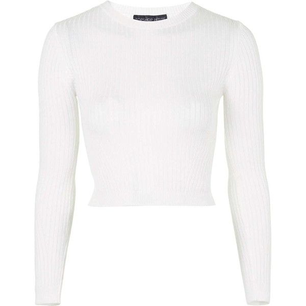 TOPSHOP TALL Knitted Ribbed Cropped Sweater found on Polyvore featuring tops, sweaters, crop tops, shirts, ivory, topshop sweaters, winter white sweater, white top, long sleeve sweaters y white jumper