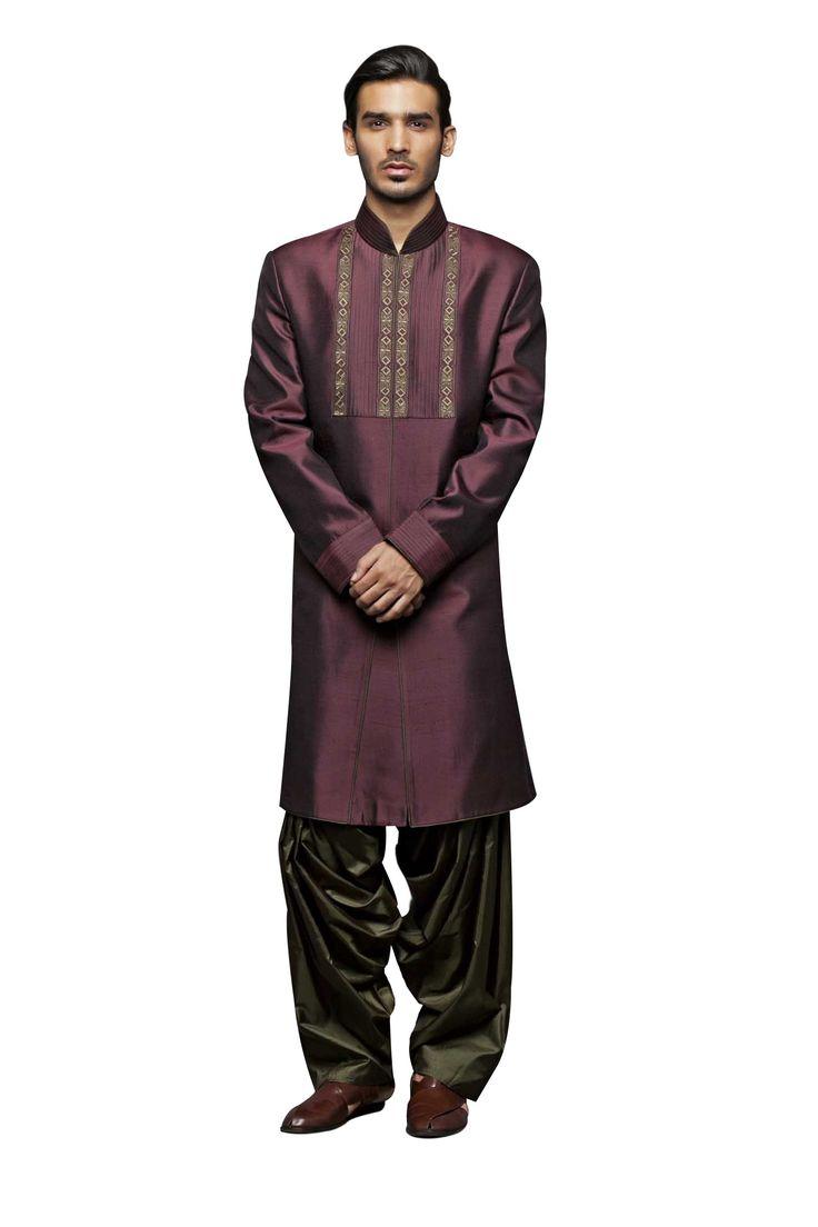 Dark maroon sherwani with patiala salwar