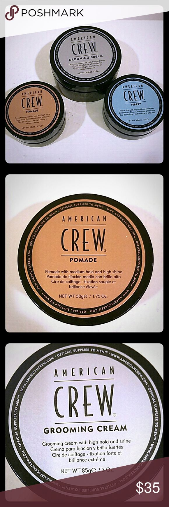 NEW American Crew Bundle for Men NEW UNOPENED AMERICAN CREW BUNDLE FOR MEN American Crew grooming cream 3oz American Crew Pomade 1.75 oz American Crew Fiber 1.75 oz This bundle is valed close to 60 and im selling it for half that price. American crew Other