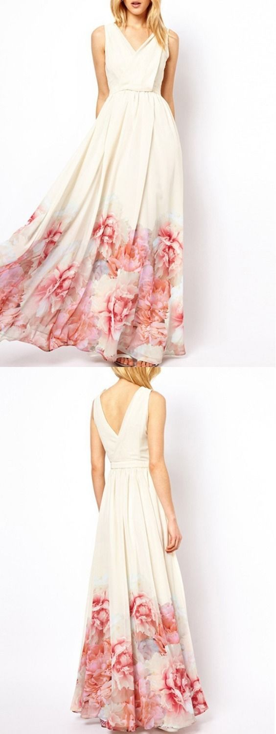 Floral Printed Back V Maxi Dress