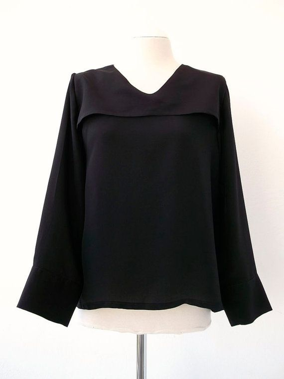 Black Silk Shirt with small shoulder capelina. Luci Lü by twyggi. Explore more products on http://twyggi.etsy.com