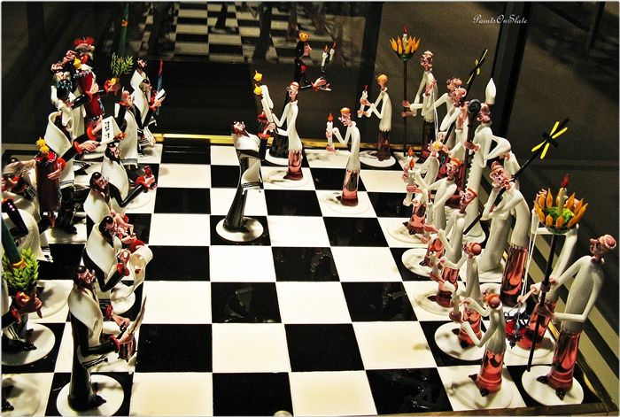 Chess Board Sculpted in Glass