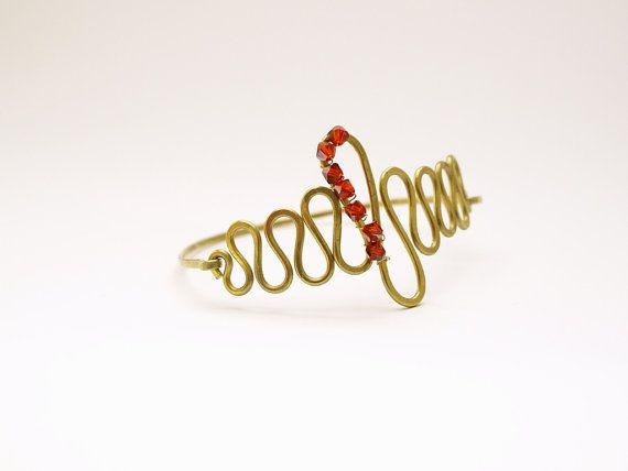 Brass wave bangle Swarovski crystal zig zag by SuspirobyAF on Etsy