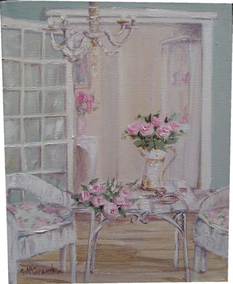 Original whimsical painting the shabby chic verandah - Cuadros shabby chic ...