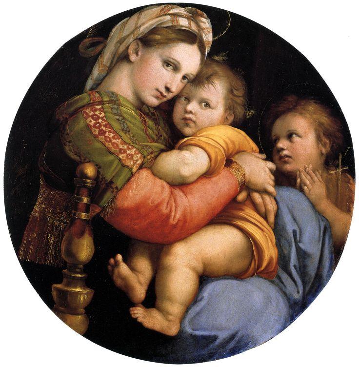 Raphael Sanzio (Italian: Raffaello) (1483 - 1520)  Madonna della seggiola  Oil on panel, 1513-1514  71 cm × 71 cm (28 in × 28 in)  Palazzo Pitti, Florence, Italy