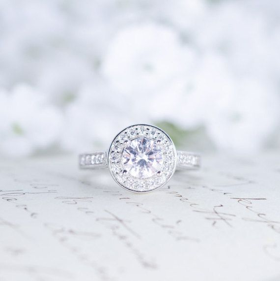 Round Halo Engagement Ring Art Deco Ring Wedding by MochaRings